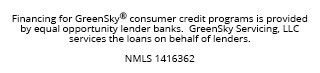 Financing for GreenSky© credit programs is provided by federally insured, federal and state chartered financial institutions without regard to race, color, religion, national origin, sex or familial status. NMLS #1416362; CT SLC-1416362; NJMT #1501607 C22